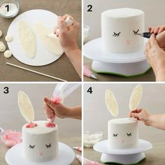 With dreams of gummy bears, chocolates and colorful candy eggs, this . - With dreams of gummy bears, chocolates and colorful candy eggs, this sweet Easter bunny cake can ha - Bunny Birthday Cake, Easter Bunny Cake, Bunny Party, Bunny Cakes, Easter Birthday Party, Cute Easter Desserts, Easter Recipes, Easter Ideas, Desserts Ostern