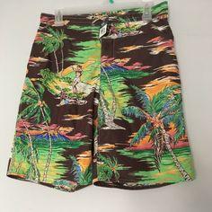 40b1e6fb99 Polo Ralph Lauren Boys Swim Trunks XL 18-20 Surfer Hawaii Palm Tree Green  Brown #PoloRalphLauren