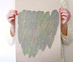 Feather Posters by Late Night Drawing @ Uncovet  //  Feathered posters printed on unique paper made of twig straw