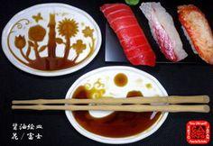 和食器☆革新  『醤油絵皿』は、醤油の量による絵柄変身アートと、適量つけられるおもてなし機能により、寿司・刺身などを楽しく・味わえる、一流和食店でも人気のモダンな高級和食器です。
