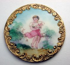 """Antique French Enamel Button Yng Girl Holding Flowers Sits on Twig Bench 1&3/8"""""""
