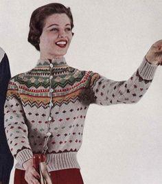 PATTERN Vintage Ski Lodge Button Down Cardigan Sweater to Knit PDF Pattern Color work Fair Isle Button Down Sweater - vintage - Cardigans Ski Sweater, Sweater Cardigan, Holiday Sweater, Vintage Knitting, Vintage Sewing, Fair Isle Pullover, Vintage Ski, Vintage Winter, Etsy Vintage