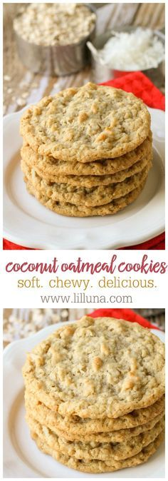 Use Coconut Oil Daily - - Chewy Coconut Oatmeal Cookies - these cookies are so addicting! 9 Reasons to Use Coconut Oil Daily Coconut Oil Will Set You Free — and Improve Your Health!Coconut Oil Fuels Your Metabolism! Oatmeal Coconut Cookies, Oatmeal Cookie Recipes, Cookie Desserts, Just Desserts, Delicious Desserts, Dessert Recipes, Yummy Food, Almond Flour Cookies, Simple Oatmeal Cookies