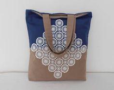 Blue Canvas Tote Bag, Beige Shoulder Bag, Large Tote, Gift for Woman, Lace Handbag, Everyday Bag, Shopper Bag, Casual Tote, Heavy Canvas Bag