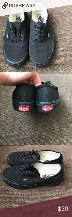 Black on black vans. Black on black vans. Have only been worn a few times. A few little marks but overall in great condition and still look almost brand new. Only selling because I needed to buy them in a half size bigger. I love these shoes!!!!!! Vans Shoes Sneakers