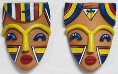 Hill Tribal Man and Woman Mask - Wall Hanging (Terracotta)\Terracotta literally means Masks Art, Clay Masks, African Masks, African Art, Terracotta Jewellery Online, Types Of Ceramics, Tribal Face, African Paintings, Cardboard Art
