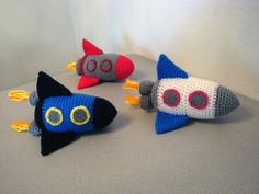 Nursery Decor/Toys: Rocket amigurumi crochet toy by IndigoToybox at Etsy.com, $34.00