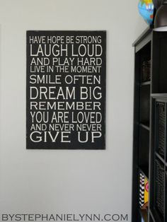 Inexpensive Inspirational Playroom Wall Art - Revisited {how To Cut Long Pieces…
