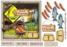 Male Card Gone Fishing  by Marijke Kok Great male card foe any occasion