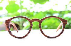 zebra wood round TAKEMOTO THANKS  handmade  glasses by TAKEMOTO