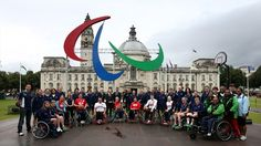 The first of five sets of Paralympic Agitos has been launched outside Cardiff City Hall #Olympics