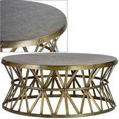 Rustic Brass Hammered Coffee Table, I am sure I can make this!