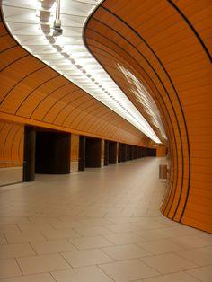 Pedestrian tunnel in Marienplatz Metro Station - Munich, Germany