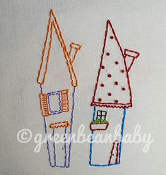 Four Houses Digital Embroidery Patterns by greenbeanbaby on Etsy