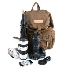 Waterproof Large Vintage Canvas DSLR Camera Backpack Bag For Canon Nikon Sony Laptop Camera, Dslr Camera Bag, Camera Backpack, Camera Gear, Backpack Camping, Dslr Cameras, Laptop Backpack, Best Dslr, Best Camera