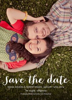 Script Save the Date Photo Overlay Wedding Save the Date Card