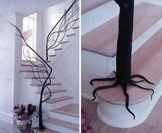 Metal tree hand railing for stairwell.