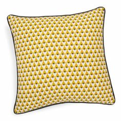 Coussin en coton jaune 50 x 50 cm ...