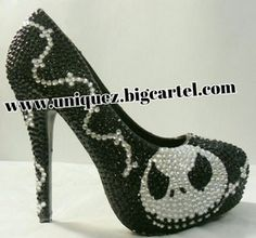 Nightmare Before Christmas 4 Inch Heels JACK by UniquezBlingQueenz Halloween Heels, Jack Skellington Faces, Bride Of Chucky, Witch Shoes, Gothic Shoes, Custom Made Shoes, Rhinestone Heels, How To Make Shoes, 4 Inch Heels