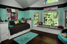 The perfect teen's bedroom with pastel blue walls and large windows. #teen #bedroom Valparaiso, IN Coldwell Banker Residential Brokerage