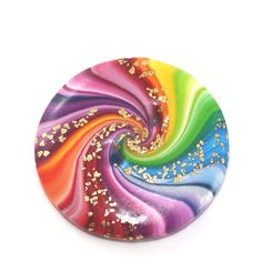 Big rainbow button, unique spiral button with gold touch, polymer clay colorful swirl button, button for bag decoration by ShuliDesigns on Etsy
