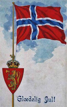 Norsk flagg og riksvåpen var mer vanlig på julekort for 100 år siden. Glædelig Jul! Postkort:Oppi, stemplet 1919