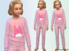 Bunny pyjamas for girls. the sims 4 custom content sims s Sims Baby, Sims 4 Toddler, Doll Dress Patterns, Clothing Patterns, Sims 4 Clothing, Female Clothing, Clothing Sets, Toddler Outfits, Kids Outfits