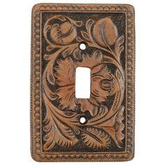 hand tooled leather switch plate http://www.blackforestdecor.com/lksra4916.html?gclid=CK6fqtyunrQCFQSg4Aod_HwAmg