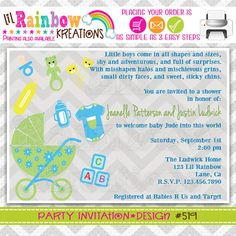 519 DIY Baby Needs Party Invitation Or Thank by LilRbwKreations