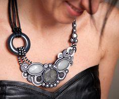 Black and white technique Soutache, Necklace unique handcrafted