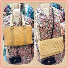 #retro #70s woven #strawbags for the #summer.  #purse at right converts to a #clutch. A few more styles in stock.  #beach #tropical #summery #purses #vintagepurse #clutchpurse #niagarafleamarket #stcatharines