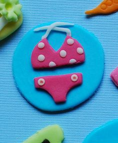 summer bathing suit fondant cupcake topper pool by LittleSugarTops, $15.00