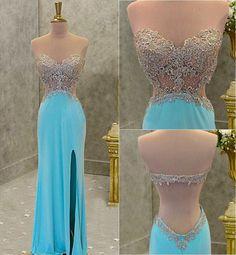Sexy prom dress, open back prom dress, side split prom dress, sweet heart prom dress, fashion prom dress, evening dress, cheap prom dress