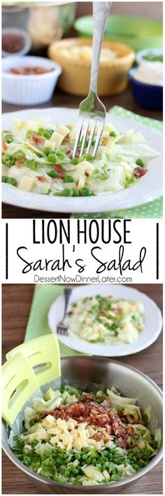 Sarah's Salad from Utah's Lion House restaurant uses crisp iceberg lettuce, peas, bacon, green onions, and swiss cheese tossed in a simple, sweet dressing. on MyRecipeMagic.com