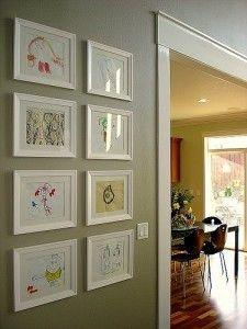 Frame fatale: Collage walls: kids art - how to display artwork using similar size white frames