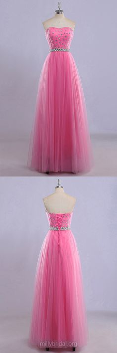 Prom Ball Gowns, Pink Prom Dresses 2018, Princess Evening Dresses, Sweetheart Party Dresses