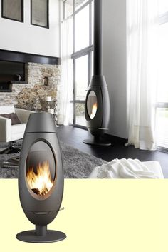 Ovoid, egglike, and unique, this is the Invicta Ove Woodburning Stove Home Fireplace, Modern Fireplace, Fireplace Design, Fireplaces, Interior Exterior, Modern Interior, Contemporary Wood Burning Stoves, Log Burning Stoves, Moraira