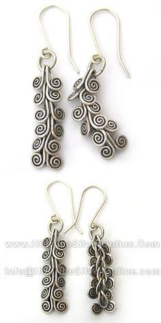 Thai Karen Hill Tribe Silver Earrings-Thai Karen Silver Unique Tribal Earring