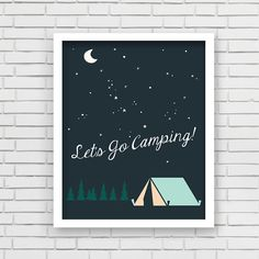 Our original Lets Go Camping nursery print, home decor art print is an exclusive Lucy Darling Shop print! Each art print is nicely packaged for