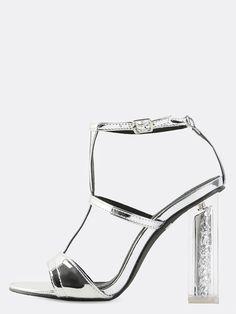 60e5bb822bf Open Toe Metallic Glitter Heels SILVER -SheIn(Sheinside) Flat Boots