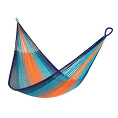 This two-person hammock was hand-woven from three miles of acrylic cord by villagers in Thailand.