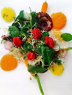 Passion For Food: Braised Octopus, Baby Spinach, Cherry Tomatoes Con...