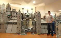 Labour of love: Gerry Burrows stands next to his Garrison of Moriah, which he constructed out of Lego in the basement of his house in Limerick, Pennsylvania, using 250,000 bricks