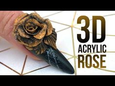(3) 3D Acrylic Rose on a Matte Nail with Glossy Design - Step by Step Nail Tutorial - YouTube