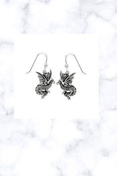 Fantasy Dragon Earrings .925 Sterling Silver Fantasy Dragon, Fantasy Jewelry, Stone Jewelry, Sterling Silver Jewelry, Earrings, Ear Rings, Stud Earrings, Ear Piercings, Ear Jewelry