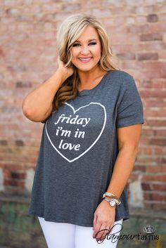 Curvy| Friday I'm In Love Tee - Charcoal