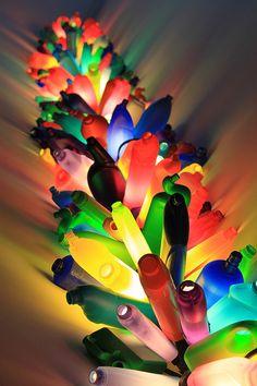"""David Batchelor, """"Wadella, Dundee"""", an installation of illuminated plastic bottles."""