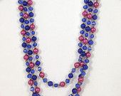 Blue and rose pink necklace, 1960s necklace, navy and mauve long vintage necklace, flapper length beads, cobalt blue, metallic fuchia