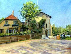 Maleri af Lille Mølle 1917. Møllerboligen til venstre huser i dag restauranten Bastionen + Løven. Usigneret maleri i Lille Mølle. Affotograferet af Niels Elswing. Fantastisk museum.