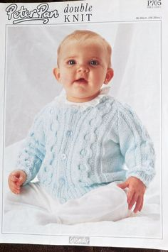 Baby/Child Cable Panel Cardigan Wendy P705 knitting pattern DK yarn #Wendy